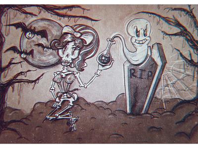 Skull Girl & Ghost halloween design spooky retro cartoon retro creepy halloween helloween ghost skull cartoon character vintage cartoon illustration 1930s characterdesign cartoon funny character character design character illustration art illustration