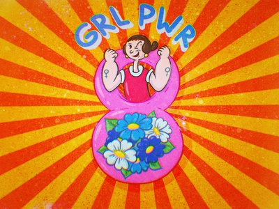 Women's Day Grl Pwr 8 march popeye girl power grlpwr womens day rubber hose rubberhose lowbrow art lowbrowart lowbrow cartoon character cartoon illustration 1930s cartoon character design character illustration art illustration