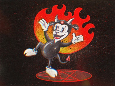 Baphomet the demon halftone lowbrow art lowbrowart rubber hose rubberhose hell demon baphomet vintage 1930s procreate cartoon character characterdesign cartoon character design character illustration art illustration