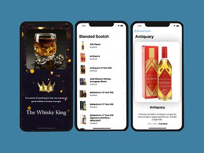 The Whiskey King vector minimal branding design ux design ui design uiux figma mobile ui mobile