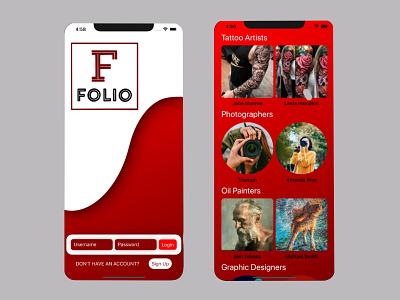 FOLIO: the artist portfolio app ux ui design ui ux design uiux mobile app design mobile design mobile app mobile ui mobile