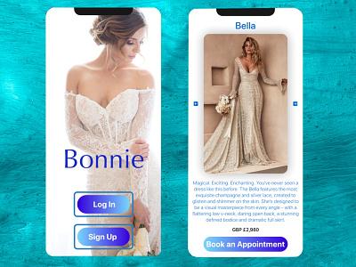 Bonnie: wedding dresses figma ui ux design uiux ui design wedding mobile app design mobile design mobile app mobile ui mobile