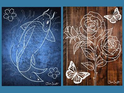 Tattoo Style Prints typography vector logo illustration ui mobile ux design uiux ui design