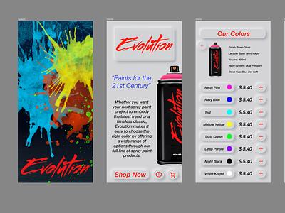 Evolution Spray paints nuemorphism logo vector branding typography design ui ux design uiux ui design mobile ui mobile