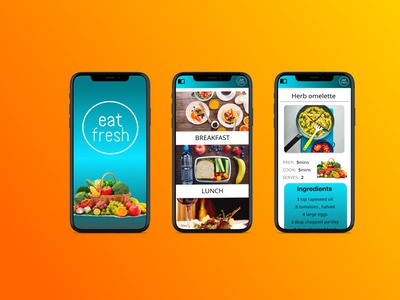Eat Fresh recipe Application mobile app design ui mobile design figma mobile ui design ui design mobile ux design uiux