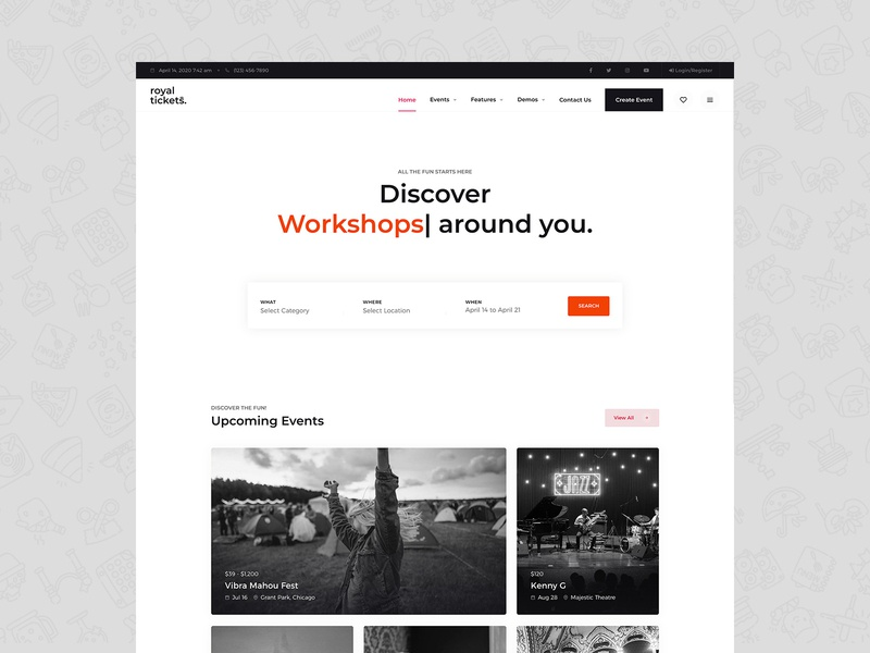RoyalTickets - Events Booking WordPress Theme ticket event app festival event branding summit conference event business responsive website theme wordpress