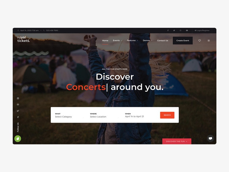 RoyalTickets - Events Booking WordPress Theme directory event website event branding theater concerts festivals workshops summits conferences multivendor payfast stripe paypal tickets events business responsive website theme wordpress