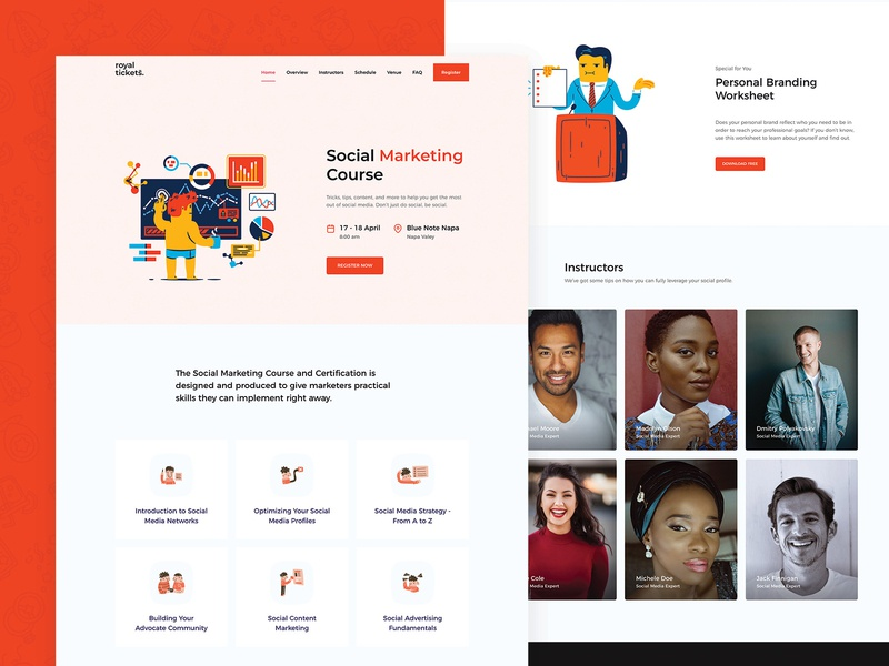 RoyalTickets - Events Booking WordPress Theme registration event tickets marketing course business responsive website theme wordpress