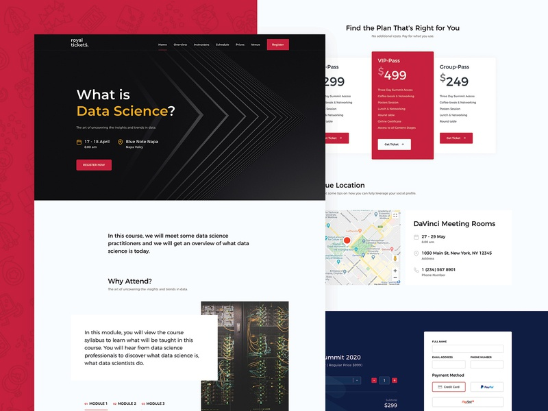 Data Science Course Landing Page registration tickets directory e-commerce responsive website theme wordpress landing page landing course data science