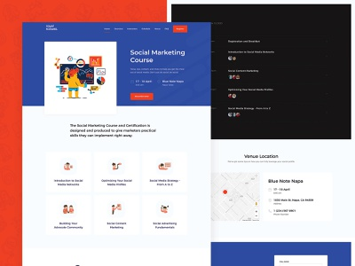Social Marketing Course Landing Page speakers schedule events tickets template directory e-commerce business responsive theme wordpress website landing course marketing social