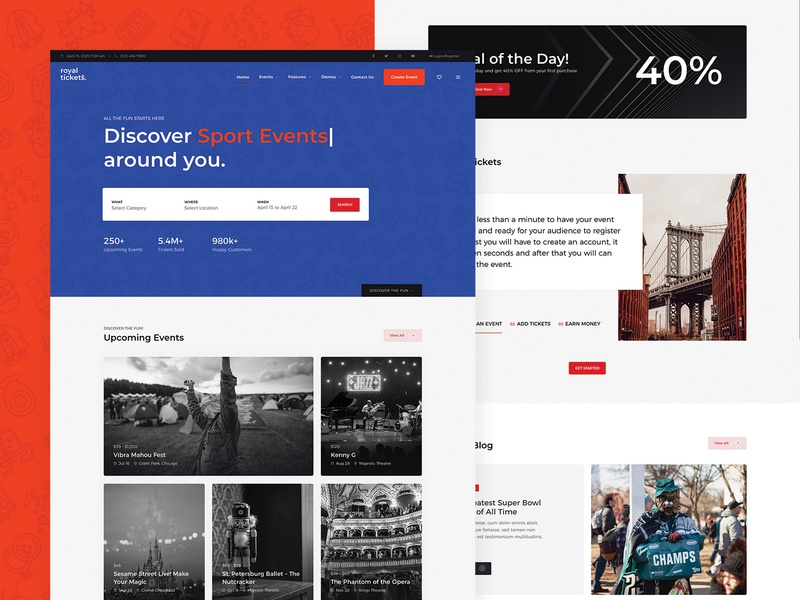 Tickets Directory Landing Page events e-commerce responsive website theme wordpress payfast stripe paypal shop vendor multi directory tickets