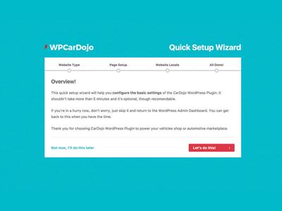 WPCarDojo Quick Setup Wizard