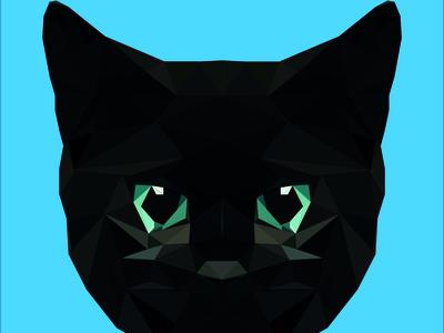 gato negro lowpoly negro gato cats cat illustration