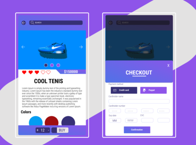 Credit Card Checkout ui ux design shoes movil dailyui 002 dailyuichallenge dailyui