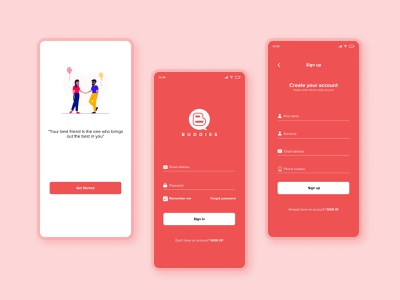 Buddies App Sign Up Page graphic design
