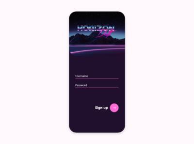 Horizon Drift Sign Up Screen