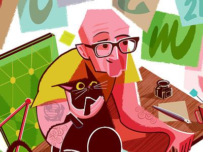 Lecture & Workshop Poster for designer Jeremy Friend typedesign customtype midcentury cat poster illustration