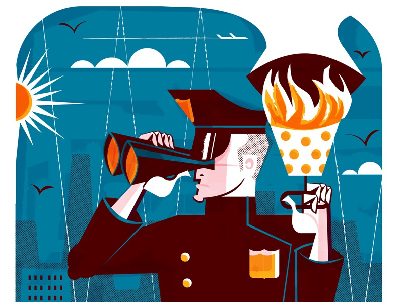 Freeze! Sky Police flame skyline sun cops editorial illustration