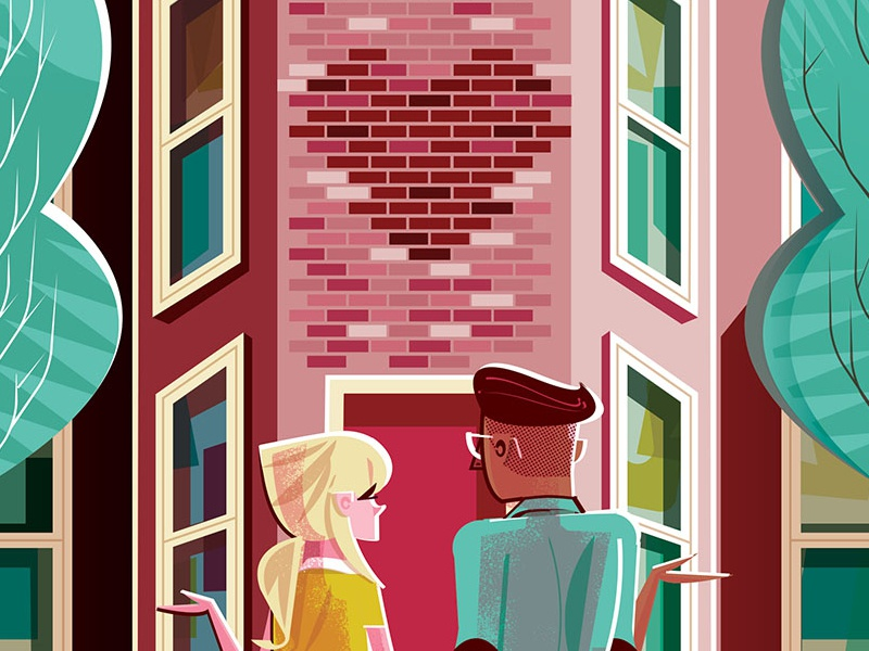 Let's move in together! bea brownstone editorial illustration