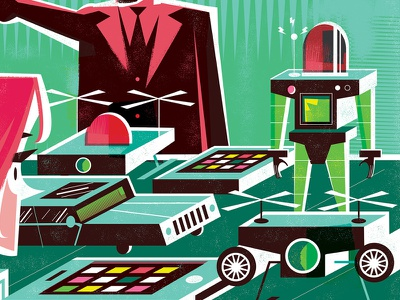 I'll Buy One of Everything limited palette money drones robots editorial illustration
