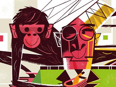Hotel Detective's Person of Interest #1: Concierge banana midcentury podium hotel monkey