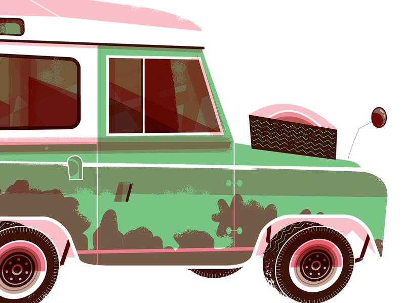 Strange Occurrence #2. A Midnight Ride in a Land Rover! midcentury landrover illustration palmsprings