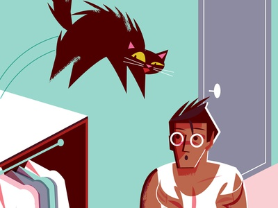 Tech's New Housing Frontier: Furniture on the Ceiling cat dog midcentury editorial illustration illustration