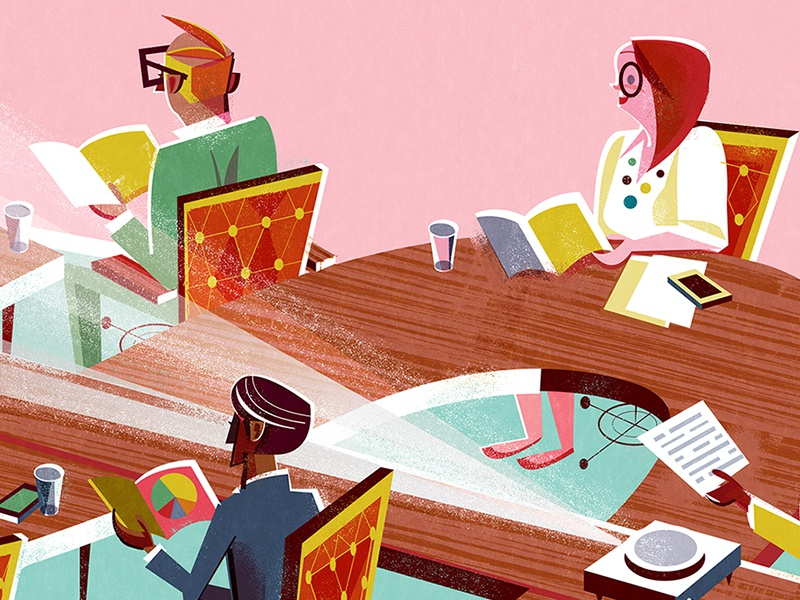 The Information Angel Investors Revised midcentury design editorial illustration