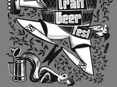 Lititz 2018 Craft Beer Fest blackletter lederhosen beer bottle laurels screen print cardinal squirrel beer tshirt