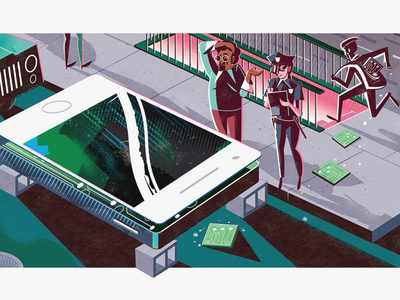 Hacked for parts! editorial illustration iphone