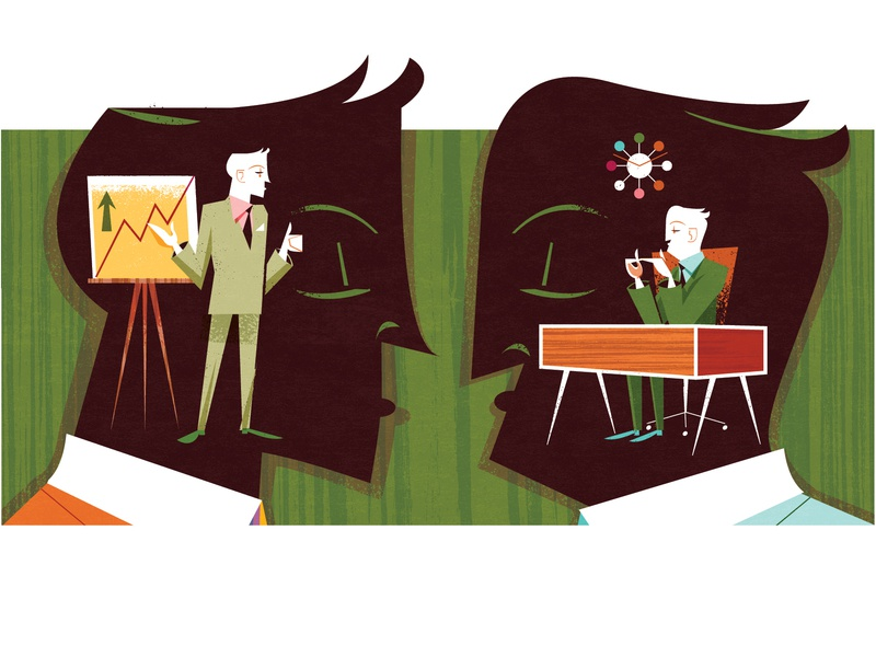 The Art of Negotiating a Raise midcentury illustration editorial illustration