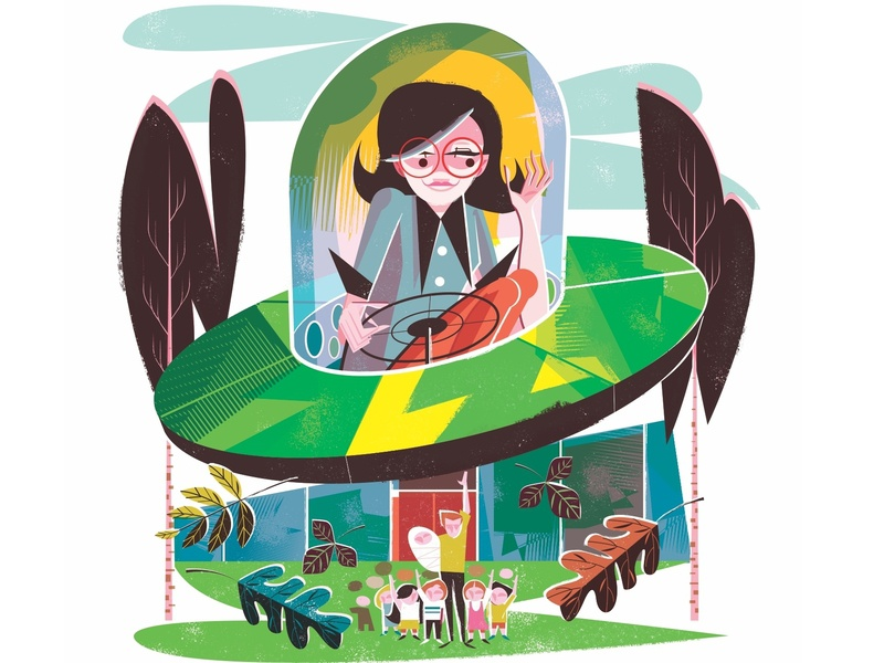 When I grow up... trees flying cars midcentury illustration editorial illustration