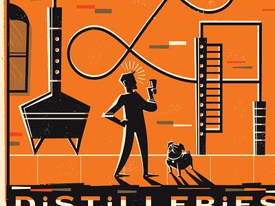 Lancaster Distilleries, Silver Rum distillery pug label design package design rum liqour