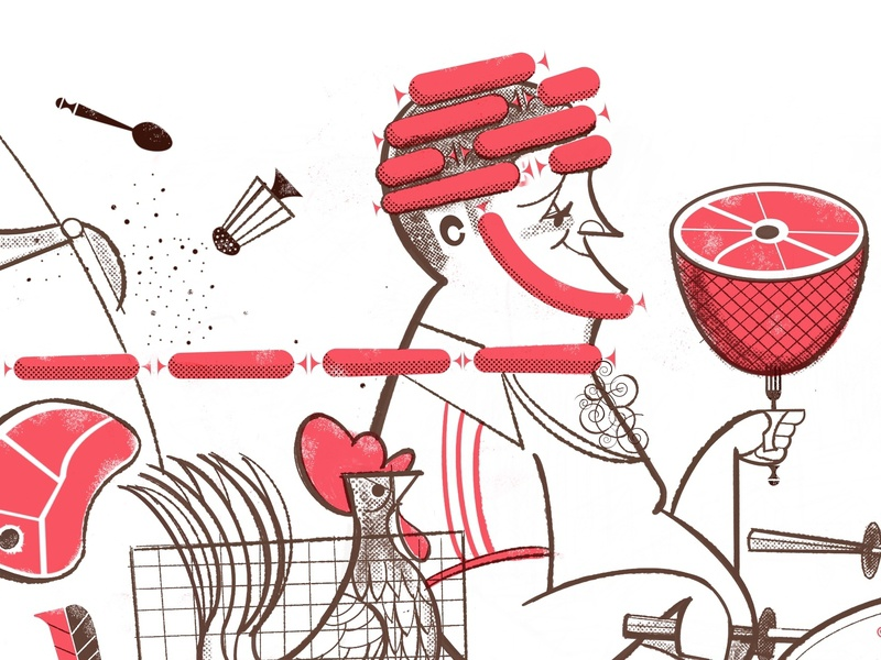 Gluttony & Vespa twocolor meat rooster vespa risograph midcentury illustration
