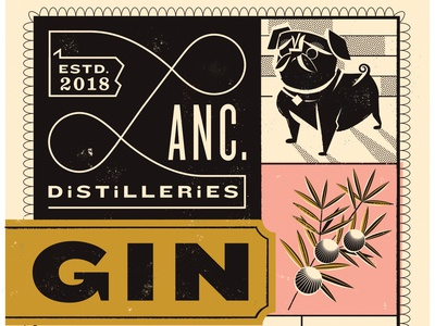 Lancaster Distilleries, Gin label illustration package design liquor branding design label design pug gin