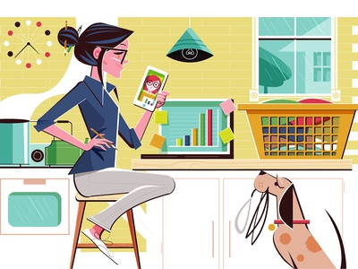Working From Home design kitchen dog illustration editorial illustration