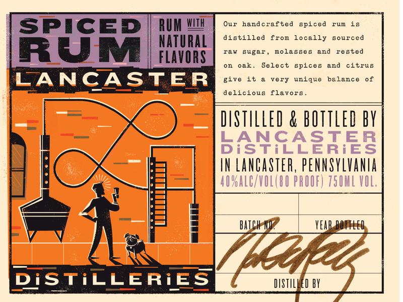 Lancaster Distilleries Spiced Rum Front & Back Labels package design dog illustration rum pug liquor label design