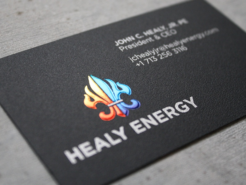 Healy Energy Business Card logo business card emboss foil stamp oil  gas