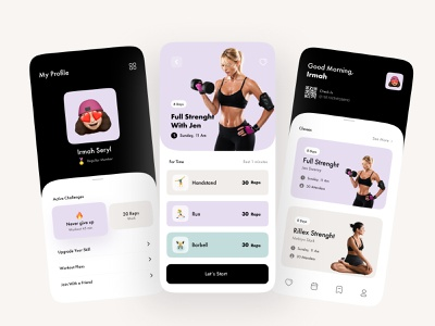Healthy Life Style in Home debut healthy lifestyle workout app good morning full strenght my profile uidesign uiux fitness club mobile app design mobile design mobile app mobile figma sport fitness app ui