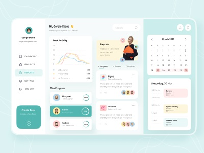Project Managenemet Dashboard task manager project management tasks dashboard setting report create dribbble statistic calendar web design webdesign web button app design uiux uidesign ui figma