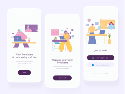 Work From Home slide next join us get started client meeting work from home illustration wfh illustration wfh mobile app mobile card button app ui design uiux uidesign figma