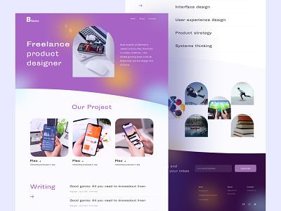 Blacu - Freelance Landing page purple gradient freelance graphic design webdesign illustration button ui design uiux uidesign figma