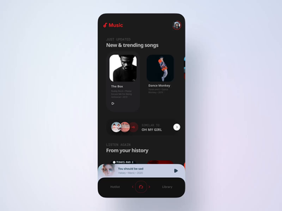 Music app concept interaction ui animation innn interaction app dark theme figma music app