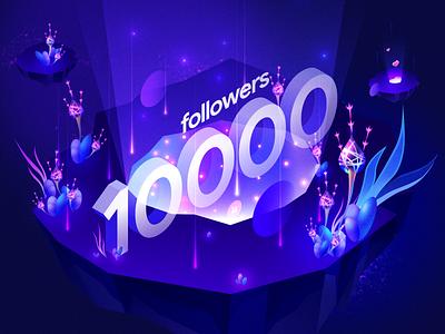 10k followers flower alien affinity designer innn illustration 10k