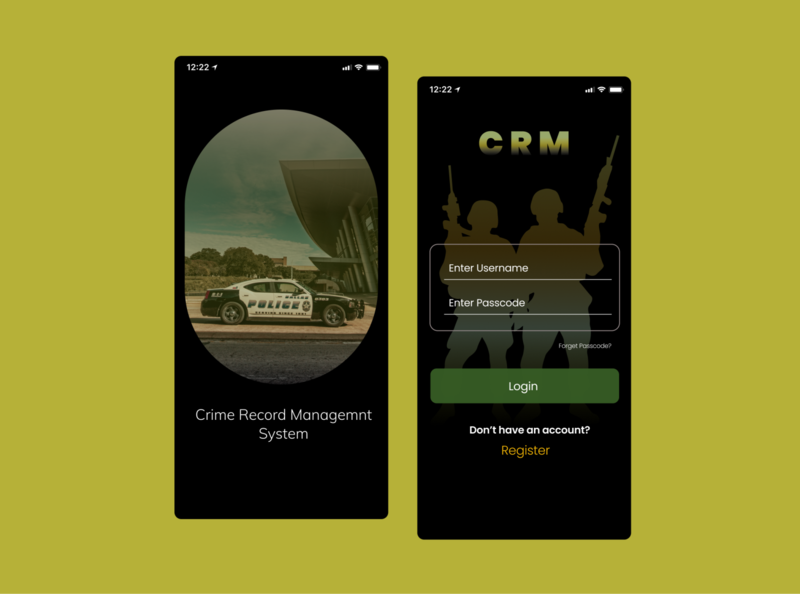Crime Record Management System mobile app design mobile ui ui  ux uidesign designs app design uiux dailyui ui design ui crime system crime app design login design login screen login page login