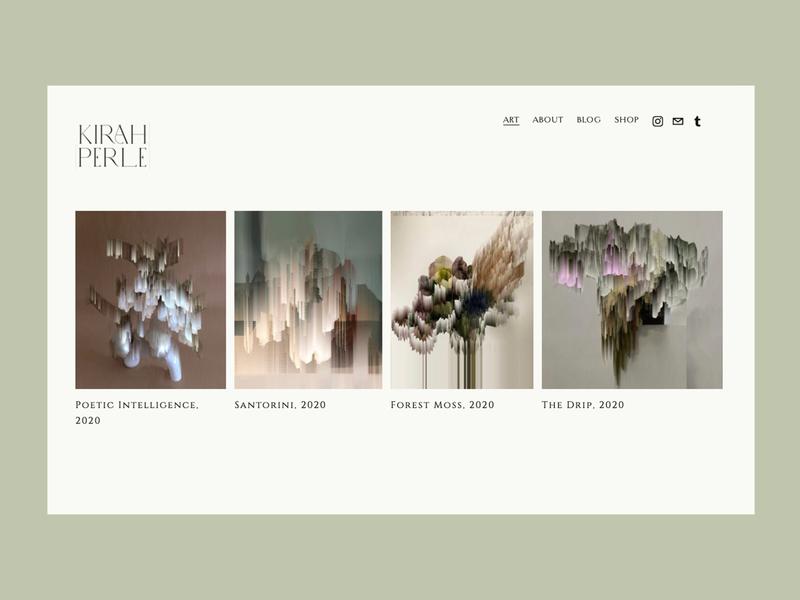 Kirah Perle Website modernism modern design minimalistic abstract design abstract art typography artists artwork graphic design branding squarespace website concept artist website design web design webdesign website