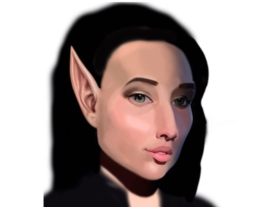 Elfa process portrait creative photoshop graphic fantasy girl elf concept illustration color painting art