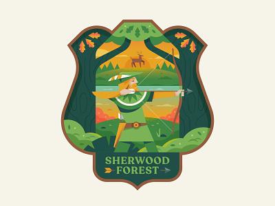 Sherwood Forest legend nature vector affinity logo crest badge illustration robinhood forest sherwood