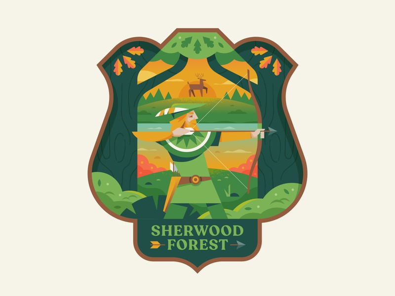 Sherwood Forest legend nature vector affinity logo crest badge illustration robinhood forest sherwood