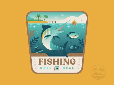 Reel Deal angler patch logo island ocean marlin illustration badge newhorizons crossing animal fishing